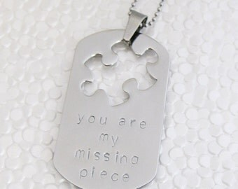 Stainless steel puzzle piece cutout dog tag pendant