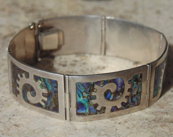 Los Ballesteros ~ Vintage Mexican Sterling and Colorful Abalone Curved Panel Bracelet c. 1937 - 1942
