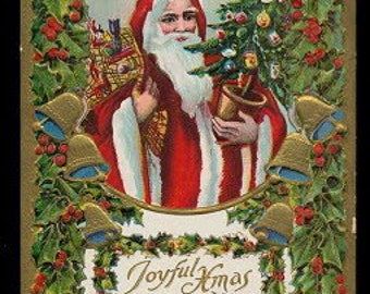 Santa Claus /Father Christmas in Robe Holding Tree 1910 Postcard