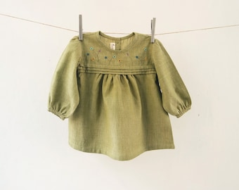 Baby Girl's Organic Tunic with Hand Embroidery