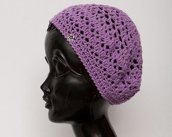 Crochet summer beret purple Cotton knitted hats Hand Knitting Hat Women's Kids Hat Slouchy Beanie Slouch Hat  Womens Accessories