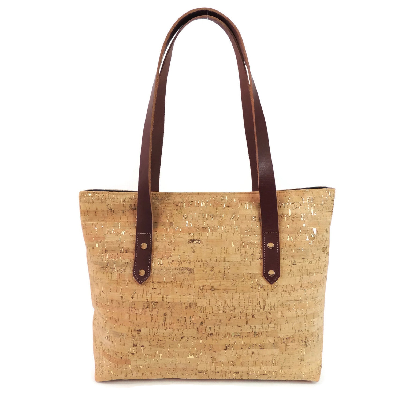 Cork Handbags: Gold Cork Purse Metallic Leather Bag Cork Shoulder By