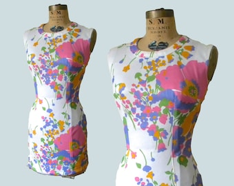 60s Mod Floral Mini // 1960s Flower Power Bodycon Shift Dress// Petite XS S
