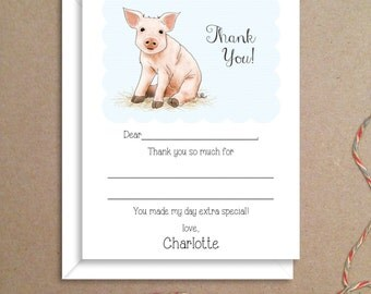 Fill-in Thank You Notes - Pig Flat Notes - Pig Note Cards - Childrens Thank You Cards- Illustrated Note Cards