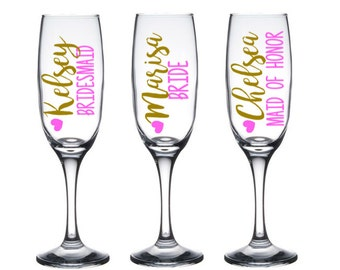 Personalized Champagne Flutes, Bridesmaid Champagne Flute, Wedding Party Toasting Flutes