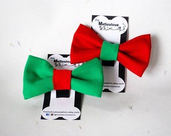 """SALE Green Dog Bow Tie with Velcro - Holiday Denim Dog Bowties - Christmas Dog Bow Tie - Velcro Cat Bow Ties - Holiday Green 3"""" ONLY"""