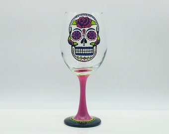 Sugar Skull Hand Painted Wine Glass Pink Green Royal Blue Dia de los Muertos Day of the Dead