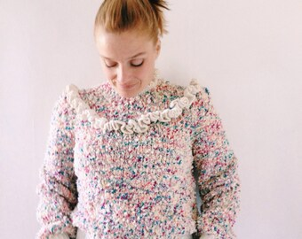 Vintage pop corn top,jumper,knit,sweater fromage the 80s