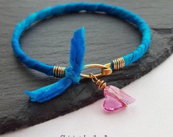 Blue Sari Silk Bangle With Pink Swarovski Crystal Heart Charm