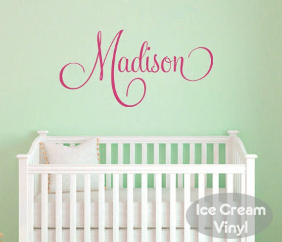 Name Wall Decal Monogram Vinyl Nursery Decal for Girls Name Bedroom Playroom Vinyl Lettering Childrens Decor