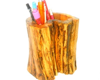 "Rustic log pencil holder Natural Teak Wood log pen holder Handmade 5""X4.5"""
