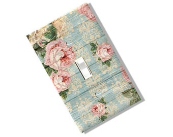 Shabby Pastel Floral Wood look Light Switch Cover Plate Blue Pink Kitchen Dining Home Decor Rustic Farm Chic Houseware Beach Nursery Baby