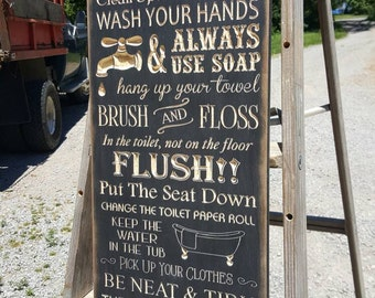 "Custom Carved Wooden Sign - ""BATHROOM RULES"""