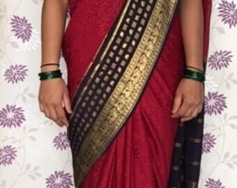 Pure Silk Sari, Crepe Silk, Bright Red, Navy Blue, Gold Zari Border, Peacock motif, Vintage sari, Indian Saree,1984, 5 yards, Self Weave