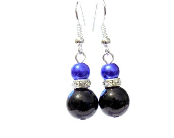 Black and blue pearl earrings, black pearl earrings, blue pearl earrings, pearl earrings, earrings, dangle earrings, drop earrings