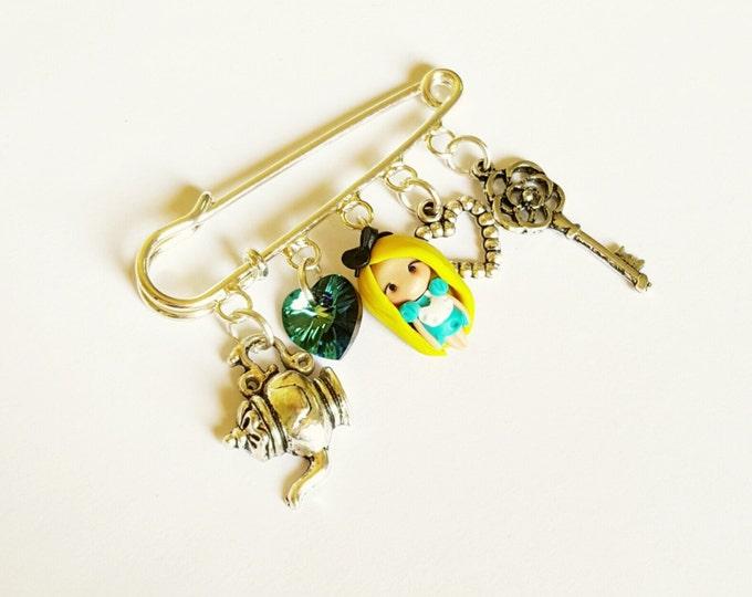 Alice  in wonderland inspire,  brooch with pendants, key,heart.Clay charm.Disney jewelry.Kawaii. .