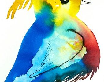 Bird art, colorful bird, nursery decor, original drawing, red yellow blue, nature decor, wall art A4