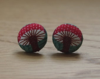 Handmade woodland toadstool button earrings. Hypoallergenic steel posts.