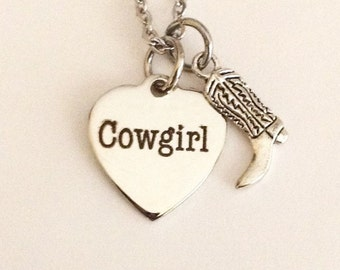 Cowgirl necklace, boot charm, gifts for cowgirls, horses, cowgirl boots, chaps, boots and spurs, cowgirl hats, petite stainless steel