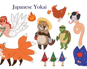 Japanese Yokai Clipart- Kitsune- clip art- Rokurokubi- folklaw- Tanuki- Japan- Illustration- Racoon dog- Kappa