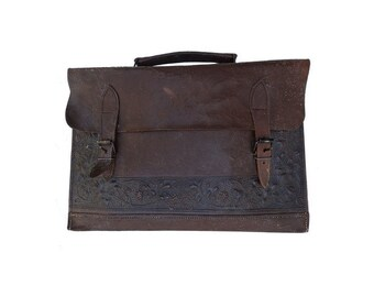 french ANTIQUE  distressed Tooled leather Messenger bag// satchel // laptop upcycled