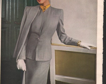 Vogue or Harper's Bazaar magazine ad, Swansdown suit, matted or unmatted - PD000846