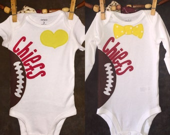 Personalized Heart OR Bow Tie Kansas City Chiefs Team Football Bodysuit