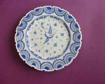 Antique blue on white hand painted plate
