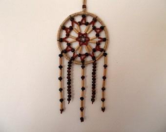 2.8'' Natural Rustic Dreamcatcher - Beaded Dream Catcher - Shabby Chic Home Decor - Car Rear-View Mirror Ornament - Boho Hippie Wall Decor