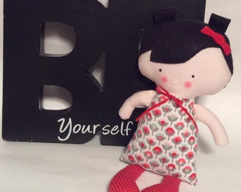 "New Handmade Baby Girl Cloth Doll 11.5"" Inez Plush Softie Rag Doll With Red Print Dress Black Wool Felt Hair"
