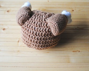 Turkey Leg Hat, Thanksgiving Baby Hat, Thanksgiving Hat, Christmas Baby Hat, Turkey Hat, Chicken Hat, Knit Turkey Hat, Crochet Turkey Hat