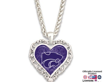 Kansas State Wildcats Ornate Heart Necklace - KSU57440