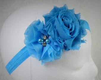 Turquoise Baby Headband, Baby Girl Headband, Baby Flower Headband, Newborn Headband, Little Girl Headband, Blue Flower Headband, Shabby Chic