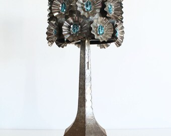 Stunning table lamp. Hand crafted in tin with blue glass beads. Mid century vintage 50s-60s.