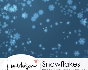 Commercial Use Instant Download Scattered Snowflakes Photoshop Brush & Install Tutorial