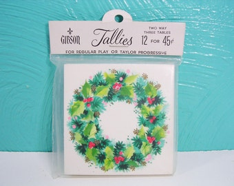 Vintage Gibson Christmas Wreath Bridge Tallies, Wreath Bridge, Canasta or Euchre Tally Cards, Set of 12 Bridge Tallies