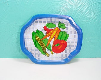 Vintage 1985 Small Metal Vegetable Scene Tray, Metal Serving Tray, Small  Snack Tray,
