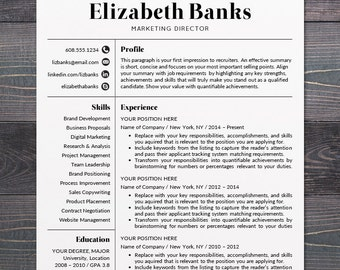 Resume Template   CV Template For Word, Mac Or PC, Professional Resume  Design,  Contemporary Resume Templates Free