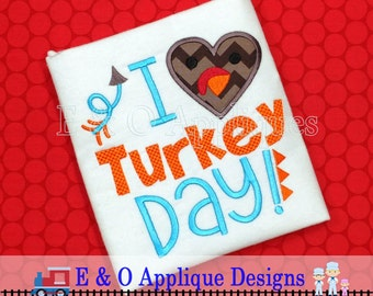 Turkey Applique Design - I Love Turkey Day Embroidery - Thanksgiving Applique - Turkey Embroidery Design - Thanksgiving Embroidery Design