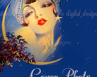 Cover Photo, Wish Upon A Star, instant download, 3360 x 840 pixels, flapper moon stars, blue, lavender, pearls, headdress gypsy vintage lady