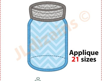Mason jar applique design. Mason jar embroidery design. Embroidery designs mason jar. Ball jar applique. Machine embroidery design