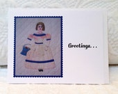 Note Card for Quilters, Vintage Quilted Princess Lady, Crown, Flower Basket, Quilt Picture Blank Flat Greeting Note Card, Collect Them