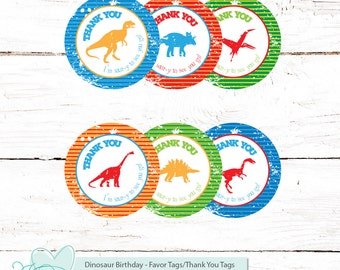 Dinosaur Favor Tags Printable, , Thank You Tags, Stickers, Labels, Cupcake Toppers, Instant Download, Boy, Birthday, Kids