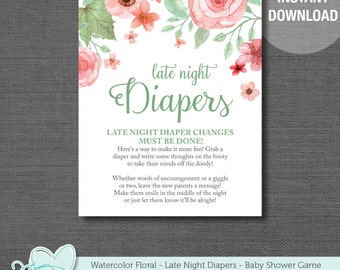 Late Night Diapers, Diaper Thoughts, Baby Shower Game, Instant Download, Printable, Watercolor Floral, Flowers, Boy, Girl, Rustic, 002A