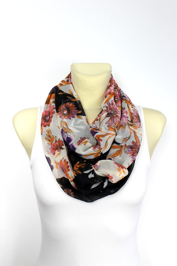 Floral Boho Scarf Floral Infinity Printed Infinity Boho Infinity Scarf Bohemian Scarf Birthday Gift for her Spring Autumn Celebrations
