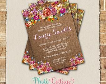 Spring Bridal Shower Invitation, Rustic Burlap Invite, Burlap Invitation, Spring Flower Bridal Shower Invitations, Flower (BS284)