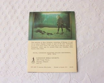 Royal Canadian Mounted Police Centennial !873 - 1973 Canadian Bible Society Booklet
