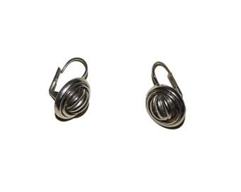 Silver Dome Earrings Vintage Ridged Dangle Drop Earrings Small