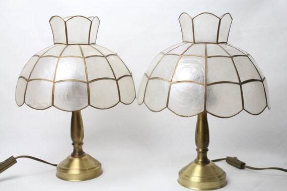 Vintage Mother Of Pearl Capiz Shell Table Lamp Brass Sea Side