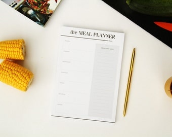 Meal Planner Notebook / Grocery List Pad / Shopping List Notepad / A5 Menu Planner / Weekly Planner / Meal Planning / Cooking Gift